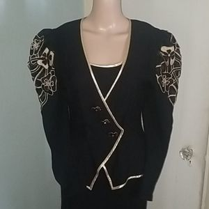 Vintage Cache Black and Gold Dress/Jacket!